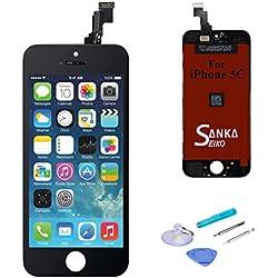 SANKA Ecran LCD pour iPhone 5C, Retina Tactile Écran Vitre Display Digitizer Kit de Réparation Complet - Noir (Free Outils Inclus)