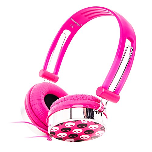 RockPapa 870K Skull Schädel On Ear Kopfhörer Headphones Verstellbare für Kinder Oder Erwachsene/ iPhone iPad iPod Touch Nano Shuffle / MP3 DVD Player TV Computer - Rosa