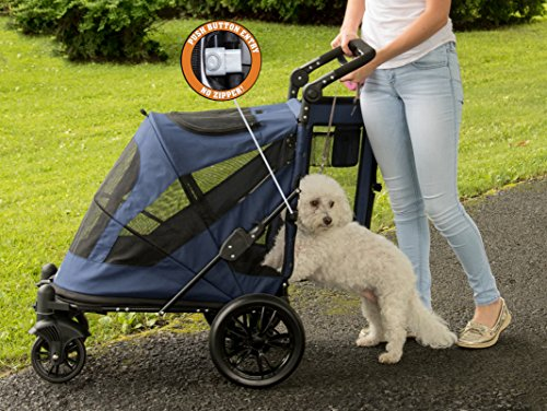 Pet Gear No-Zip Excursion Zipperless Entry Pet Stroller for Single or Multiple Pets, Candy Red 3