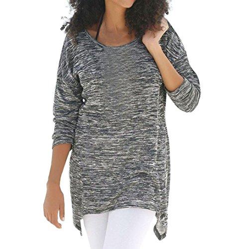Kobay Women Top,Lady Long Sleeve Round Neck Loose Blouse Irregular Hem Casual Tops Autumn Winter