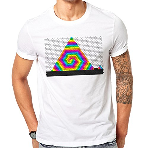 Illuminati Triangle Art Majestic Rainbow Edition Herren T-Shirt Weiß