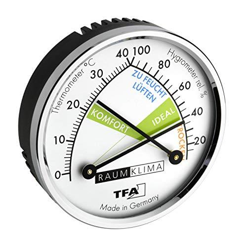 TFA Dostmann Analoges Thermo-Hygrometer mit Metallri, Kunststoff, Messing verchromt, Mehrfarbig, (L) 71 x (B) 23 x (H) 71 mm