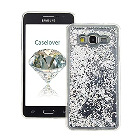 Coque Samsung Grand Prime , Glitter Liquide TPU Etui Coque pour Galaxy G530 ,CaseLover Amour Motif Mode Etui Coque Dynamic Etoiles Paillettes Sable TPU Slim pour Samsung Galaxy Grand Prime SM - G530F G530FZ G530H G530FZ / DS (5.0 pouces) Mode Flexible Souple Soft Case Couverture Housse Protection Anti Rayures Mince Transparent Silicone Strass Mouvant Cover - Argent