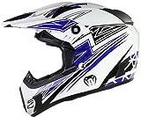 Qtech Viper - Motocross-Helm - für Offroad/Enduro - Schwarz/Rot/Orange/Blau - Blau - S (55-56 cm)