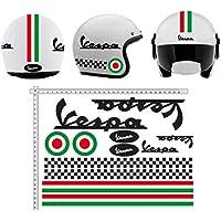 Pegatinas CASCO Kit casco VESPA NERO NERÓN ITALIA vinilo VINY PULIDO para su computadora portátil, dormitorio, equipaje, coche, maletas, motocicletas, bicicleta, monopatín, tabla de snowboard, PS4 y Xbox One carrera cross track calcomanías de motocicletas