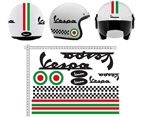 Aufkleber Helmet CASCO Kit VESPA NERO SCHWARZE ITALIA Helm VINY POLISHED sortiert Vinyl, für Laptop, Schlafzimmer, Gepäck, Auto, Koffer, Motorräder, Fahrrad, Skateboard, Snowboard, PS4 und Xbox One Rennen Cross Track Auto Motorrad Aufkleber