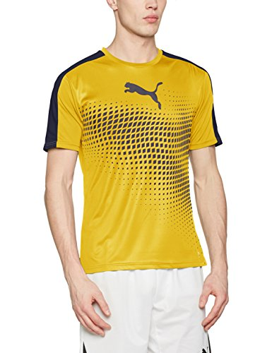 PUMA Herren IT Evotrg Graphic Tee T-Shirt, Ultra Yellow-Peacoat, L (Tee T-shirt Gelbes)