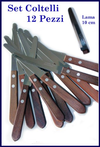 Set 12 coltelli manico legno lama acciaio inox TRAMONTINA ORIGINALI PUNTA TONDA cucina brasile carne bistecca casalinghi