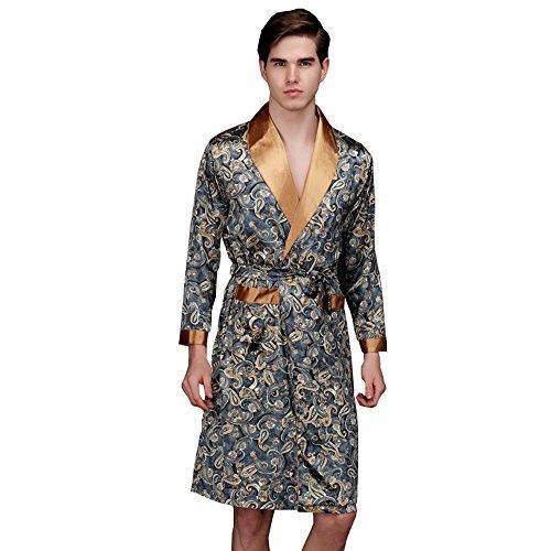 Ddoq–vestaglia a maniche lunghe maglietta uomo accappatoio camicia da notte, marina militare, xx-large
