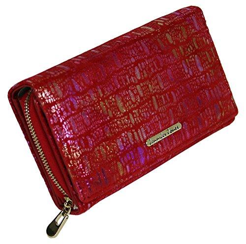 Große Damen-Geldbörse Geldbeutel aus Wildleder Portmonee für Frauen Portemonnaie mit viel Stauraum in Rot (5261-4) -