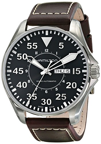 Hamilton Men's Khaki Pilot 46mm 46mm Brown Leather Band Steel Case Automatic Black Dial Watch H64715535