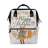 COOSUN Cartoon Fox Alles Gute zum Geburtstag Nappy Wickeltasche Windel Rucksacks mit Insulated Taschen Stroller Straps, großen Kapazitäts-Multi-Funktions-stilvoller Windel-Tasche für Mama Dad Außen