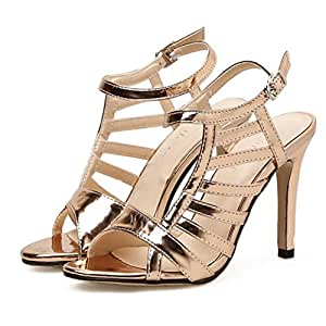 Frauen hochhackige Schuhe PU Sommer Open-Toe Sandalen bequem fahren Party Tanzschuhe Gold Silber GAOLIXIA