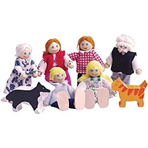Bigjigs Toys Heritage Playset Wooden Doll Family - Dollhouse Figures