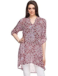 Sanaa By Shoppers Stop Womens Mandarin Neck Printed Dipped Hem Kurta