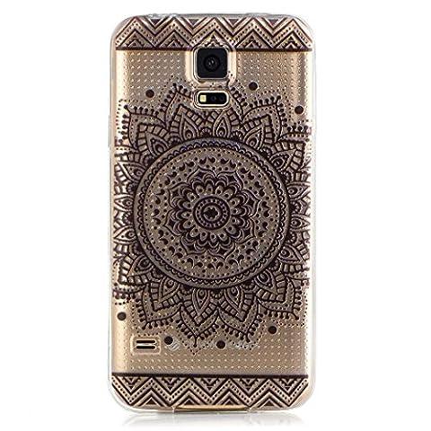 KSHOP TPU Silikon Hülle für Samsung Galaxy S5 Handyhülle Schale Etui Protective Case Cover dünn mit Drucken Muster - indisches Heilige Blume Mandala (Stern Klar Deckel)