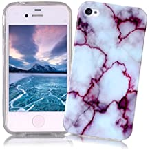 Coque iPhone 4/4S XiaoXiMi Etui en Marbre Texture Housse de Protection Soft TPU Silicone Case Cover Coque Flexible Lisse Etui Ultra Mince Poids Léger Housse Anti Rayure Anti Choc pour iPhone 4/4S - Violet