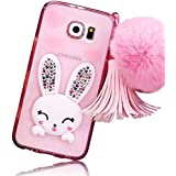 Sunnycase® Samsung Galaxy S7 Edge Coque Transparente 3D Lapin Case Silicone Bunny Souple TPU Cover avec Fonction Stand [oreille de Rabbit] Bling Crystal Etui Housse de Protection [Shock-Absorption Bumper] Shell pour Samsung Galaxy S7 Edge SM-G935F – Rose