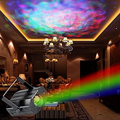 LEDMOMO LED Stage Light Remote Control Music Sound Activated Rotating Light Lamp Ripple Effect Projector Light Bar Club KTV Party (7 Colors) (UK Plug)