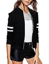 Khhalisi Women'S Full Sleeves Striped Zipper Black Fleece Bomber Jacket