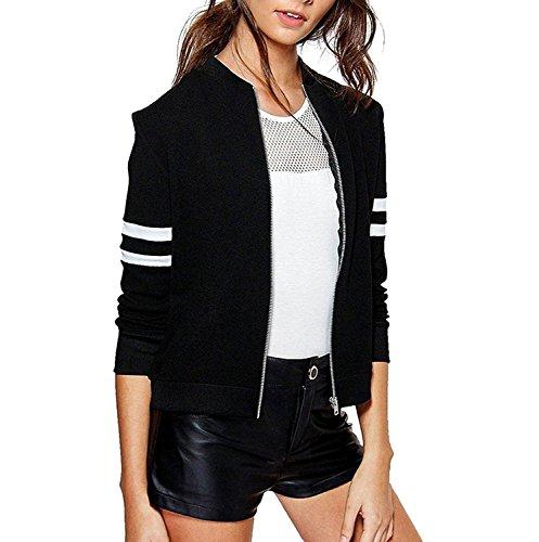 Khhalisi Women's Fleece Full Sleeves Striped Zipper Bomber Jacket (Black, Small)