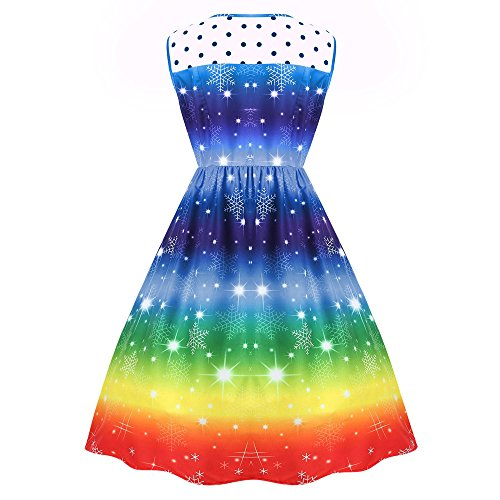 Vêtements LILICAT Womens Christmas Rainbow Party Dress Robe de bal de Noël Vintage blue