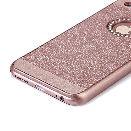 iPhone 6s Case, SICAS ( TM ) Fashion Luxury Protective Hybrid Beauty Crystal Rhinestone Sparkle Glitter Hard Diamond Case Cover For iPhone 6s/6 (Purple-3 Layer) Diamond-Rose Gold