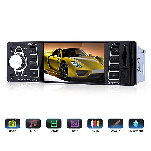 Bluetooth Autoradio 4,1 '' HD, MP3 MP4 MP5 Player mit Rückfahrkamera Eingang,Auto Radio Video Stereoanlage FM Radio USB/TF/AUX Eingang mit Fernbedienung