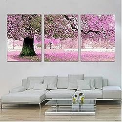 VPVP Pintura combinada de Tres Cuadros por números Decoración Vintage para el hogar Arte de la Pared Cuadros de Flores Pintura al óleo sobre Lienzo Tríptico D
