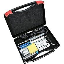 Kit del soldador 220V 60W con Caja de herramientas, VicTsing Soldador de estaño de Temperatura Ajustable, 5 PCS Puntas diferentes, Bomba desoldadora, Soporte, Pinzas Antiestáticas, Cable de soldadura de estaño y Esponja de limpieza