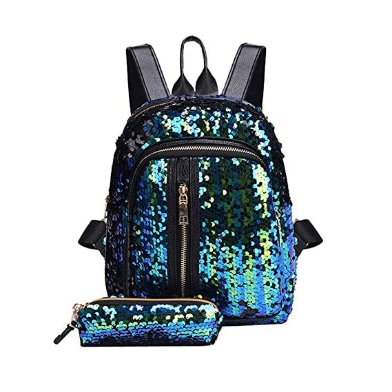 Generic 2pcs/Set Glitter Sequins Backpack New Teenage Girls Fashion Bling Rucksack Students School Bag with Pencil Case Clutch Mochilas Color Sky Blue