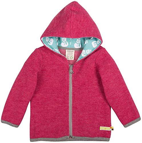 loud + proud Modische Baby Kapuzenjacke aus Bio Woll-Fleece mit Bio Baumwolle, Vorne mit Reißverschlussaus, GOTS Zertifiziert, Hibiscus, 98/104 - Baumwoll-jersey Mantel