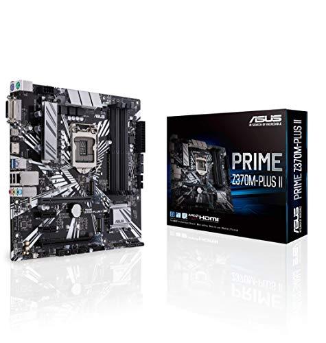 Asus PRIME Z370M-PLUS II Scheda Madre Intel LGA-1151 per Processori Intel 9th/8th gen, LED, RAM DDR4 4000 MHz, Dual M.2, Intel Optane Memory Ready, HDMI, SATA 6GB /s, USB 3.1, Nero