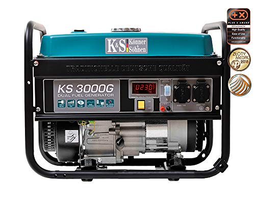 Könner & Söhnen KS 3000G Benzin-LPG Hybrid Stromerzeuger, 4-Takt, Kupfer, 3000 Watt, 16A, 230V Generator, für Kleinhaus, Garage oder Camping