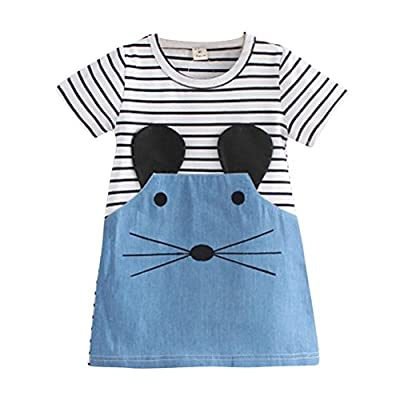 Shiningup Baby Girl Dress Long Sleeve Stripe One Piece Cartoon Mouse Printed Cotton Denim Causal Skirt for 2-6 Years Little Girl by : everything 5 pounds (or less!)