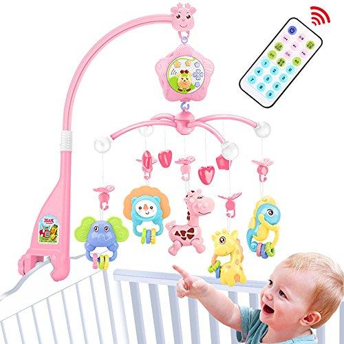 Mobile Baby bett, Spieluhr mobile mit licht,für Kinderbettchen,Zum Befestigen am Bett für Babys von 0-6 Jahre alt – Höhe: 58 cm, ø 32 cm (Rosa)