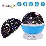 pilaaidou Motiv Lampe Romantische rotierenden Star Projektorlampe, 3Modell 18.56FT (2m) Tragbare USB-Motiv Licht für Kinder Kinder Schlafzimmer & Urlaub Party