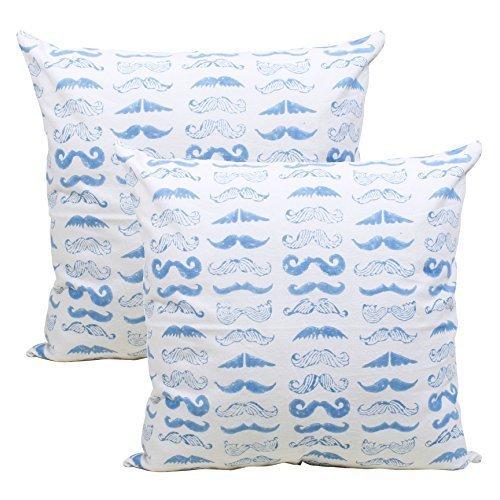 Store indya, 100% cotone federa tiro bizzarro baffi design cuscino set di 2 quadrati cuscino caso con cerniera nascosta per divano divano casi living room home decor accessori da letto