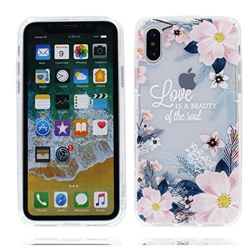 iPhone X Custodia, iPhone 10 Copertura Crystal Case gel trasparente [Slim-Fit] [Anti-Scratch] [assorbimento di scossa] [Supporta la ricarica wireless] iPhone X Copertura (Nuova moda) # 9