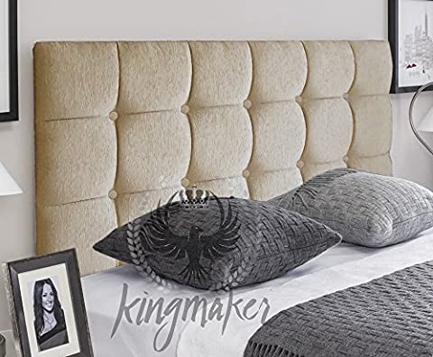 TrendMakers Premium Tufted 5FT Kingsize Bed Design Cube Linen Fabric MATCHING BUTTONS Divan Bed Headboard Box Designs 30