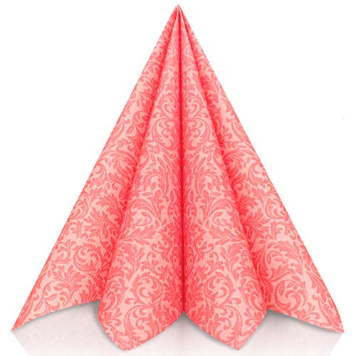 SA, PINK   Stoffähnlich [50 Stück]   Hochwertige rosa Servietten, Tischdekoration für Hochzeit, Geburtstag, Feiern, Taufe, Kommunion   40x40cm   AIRLAID QUALITÄT ()