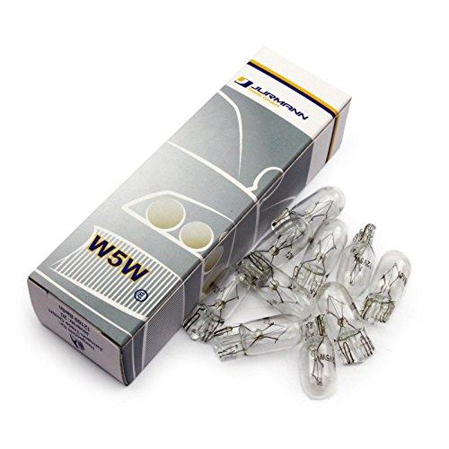 Jurmann Trade GmbH® 10x Stück CLEAR 12V 5W W5W T10 Glassockel Halogen Lampen Autolampen Glühlampe NEU (Can Box Test)