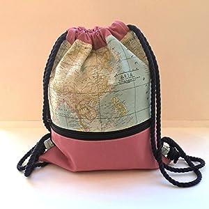 Mochila – La Vuelta al Mundo Rosa – Mochila con cordón náutico, hecha a mano en lona y algodón, con bolsillo exterior cerrado con cremallera