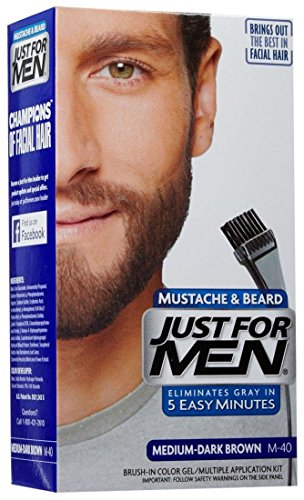 Just for Men Brush-In Color Gel for Mustache Beard & Sideburns Medium-Dark Brown M-40 (Color Haar Gel)
