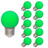 10 Stück E27 Farbig LED Leuchtmittel Birnenform Bunt Tropfenlampe Glühbirnen Biergartenlichterkette Partybeleuchtung Grün