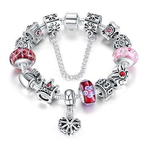 Presentski Art- und Weiseschmucksache-Königin-Kronen-Charme-Armbänder mit Glasperlen für