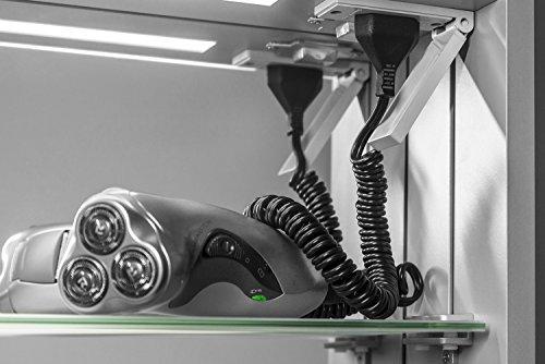 Calais LED-Badezimmerschrank mit Uhr, Spiegelheizung, Sensor & Rasierer k384 - 4