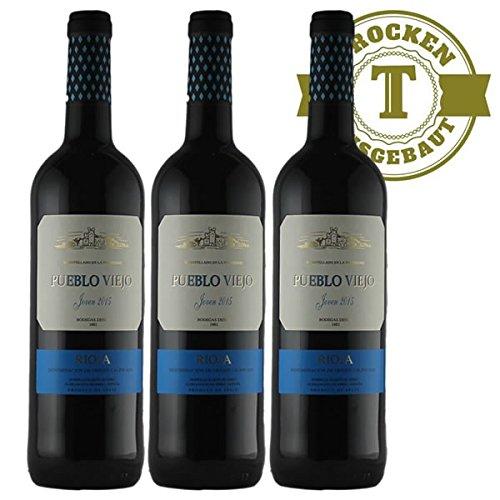 Rotwein Spanien Rioja Pueblo Viejo Tempranillo 2015 halbtrocken (3 x 0,75l) - VERSANDKOSTENFREI -