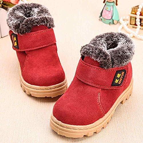 Kingko® 1-6 Jahr Baby warme gezeichnete Schnee-Aufladungen Art- und Weiseflache Wintermartinaufladungen Rot