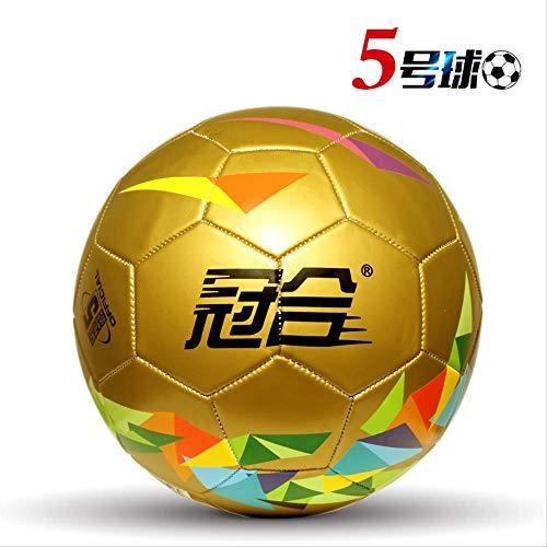zuq Fußball No. 5 Erwachsene Grund- und Sekundarschule Kinder 54 3 verschleißfeste Echtleder Sense Kindergarten Training Fußball 5 Golden Earth (Geschenk)